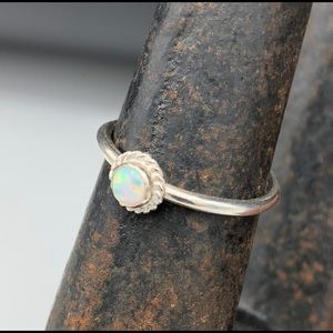 💕Lab-created opal/sterling silver ring, size 6.5
